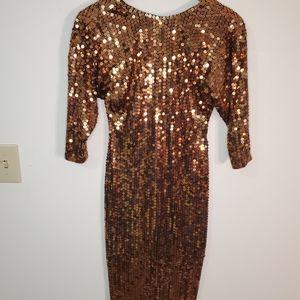 VNTG Ole Cassini Copper Sequined Dress